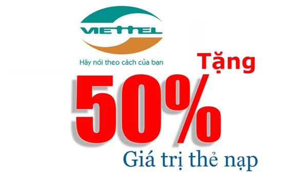 Viettel khuyến mãi 50% giá trị thẻ nạp ngày 20/9/2017