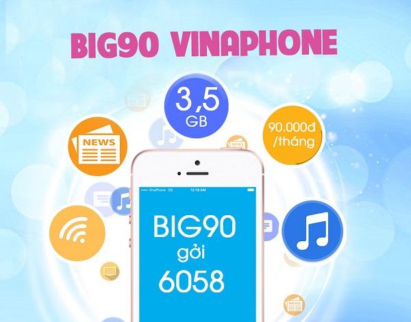 Cú pháp đăng ký gói BIG90 Vinaphone dùng cho sim 3G và 4G