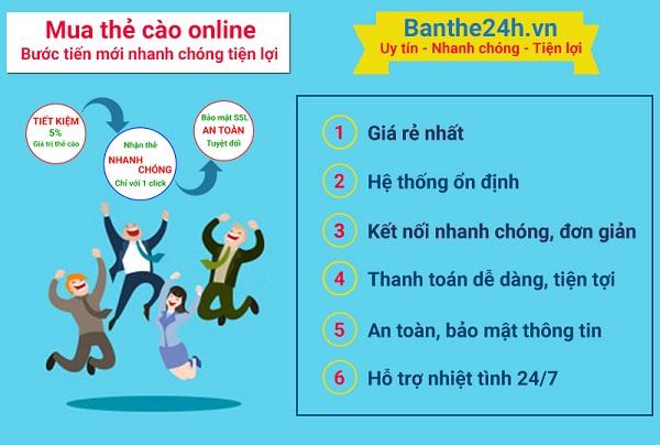 Cách mua thẻ cào điện thoại online nhanh nhất tại Banthe24h