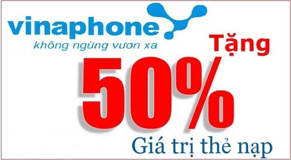 Vinaphone khuyến mãi 50% thẻ nạp trong ngày 21/9/2017