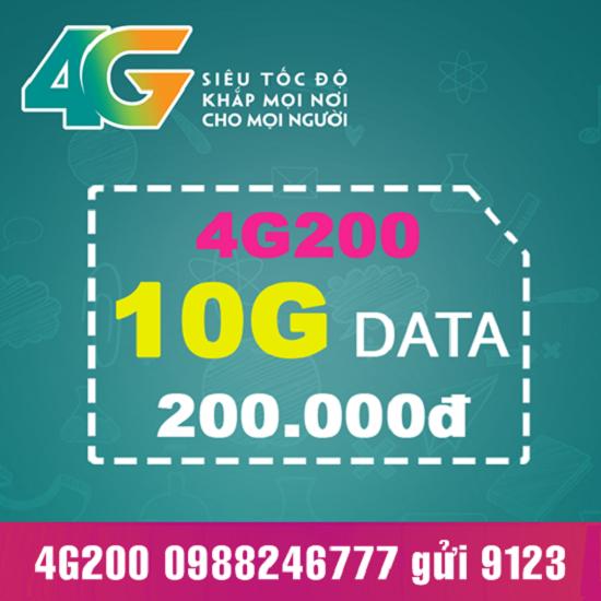 Đăng ký gói cước 4G200 Viettel nhận ngay 10GB data khủng
