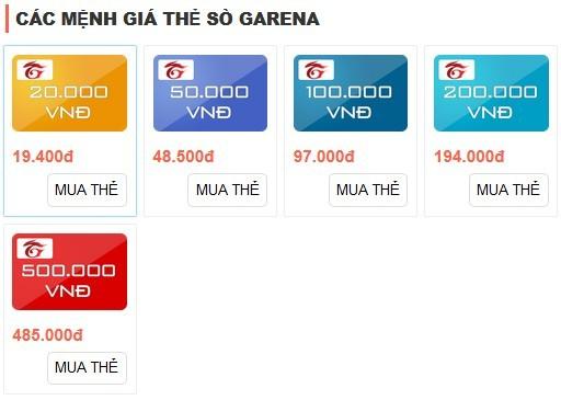 Các mệnh giá thẻ Garane và địa chỉ mua thẻ Garane chiết khấu cực tốt