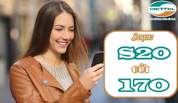 Hướng dẫn nhanh cách đăng kí gói S20 viettel  nhận 1000SMS