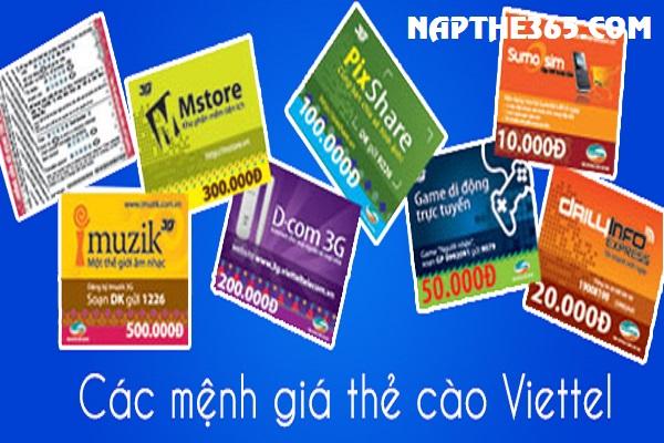Các mệnh giá thẻ cào Viettel đang hiện hành