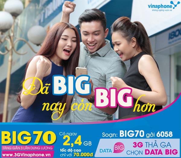 Hướng dẫn cách đăng ký gói cước 3G BIG70 Vinaphone với giá tốt nhât