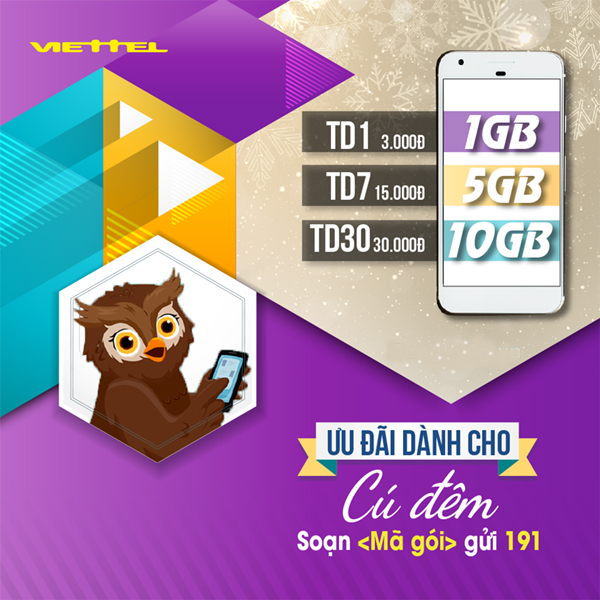Ưu đãi dành cho cú đêm - Gói TD1 Viettel nhận 1GB chỉ 3K