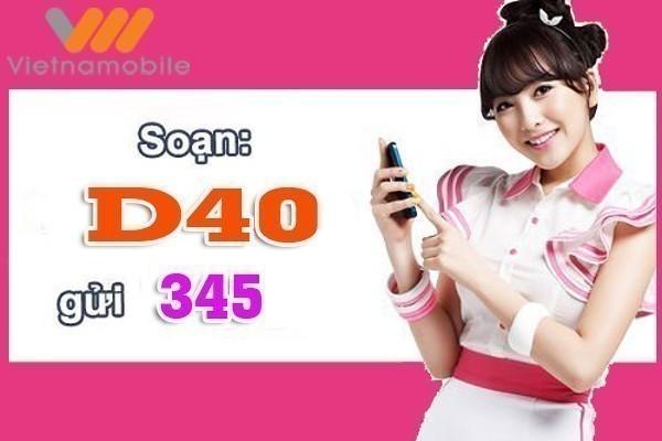 Đăng ký gói cước D40 Vietnamobile nhận ngay 1.3Gb chỉ với 40.000 đồng