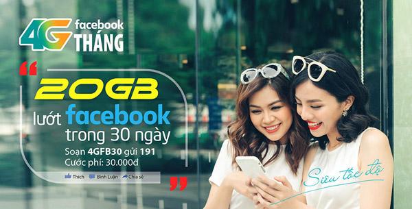 Lướt Facebook miễn phí cả tháng khi đăng ký gói 4GFB30 Vietttel