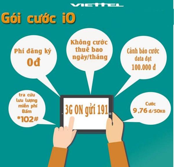Đăng ký gói I0 Viettel giảm ngay cước phí 7 lần so với thông thường