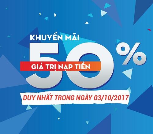 Khuyến mãi 50% Mobifone ngày vàng 3/10/2017