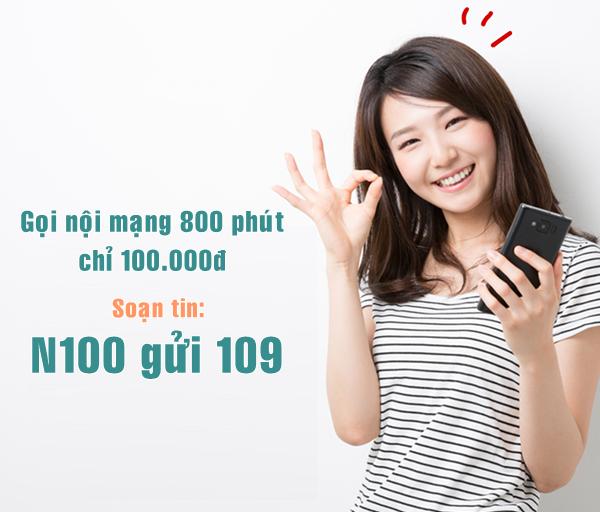 Đăng ký gói N100 Viettel - Ưu đãi tới 800 phút gọi nội mạng