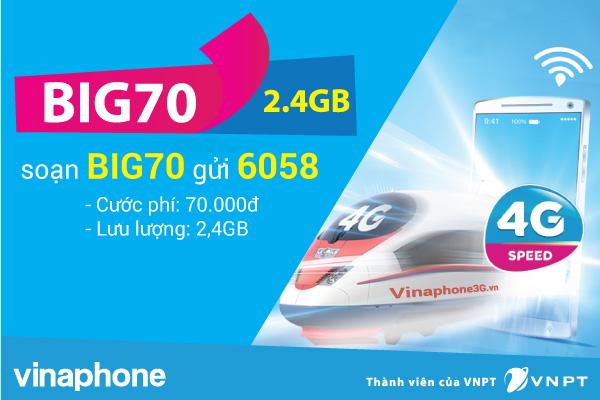 Đăng ký gói BIG70 Vinaphone nhận ngay data siêu khủng