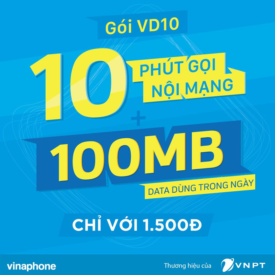 Nhận ngay 10 phút và data 3G khi đăng ký gói cước VD10 Vinaphone