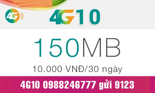 Gói cước 4G10 Viettel dùng 4G chỉ 10.000 đồng/tháng