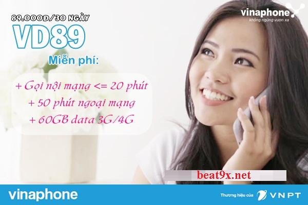 Cách đăng ký gói VD89 Vinaphone nhận ngay 60Gb+miễn phí cuộc gọi dưới 20p