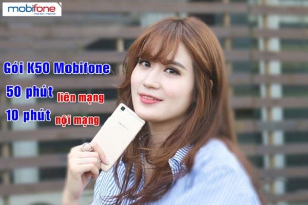 Ưu đãi 50 phút liên mạng, 10 phút nội mạng khi đăng ký gói K50 Mobifone