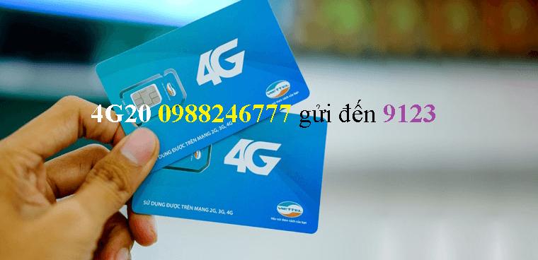 Gói cước 4G20 của Viettel dùng 4G chỉ 20.000 đồng/tháng!