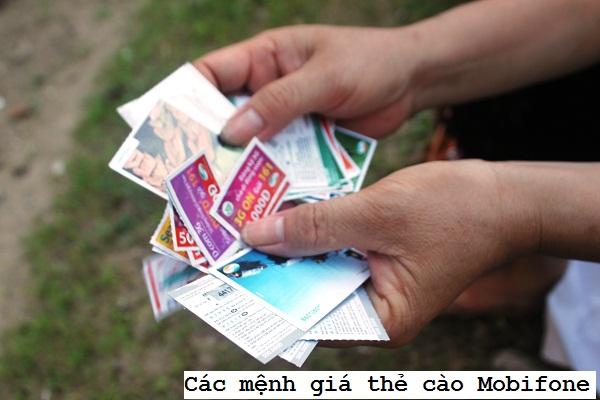 Các mệnh giá thẻ cào Mobifone đang hiện hành trên thị trường