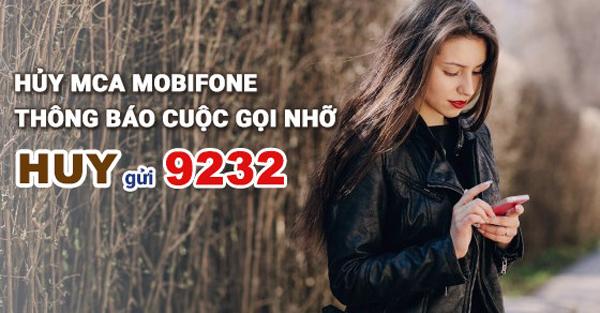 Cú pháp hủy dịch vụ báo cuộc gọi lỡ MCA Mobifone