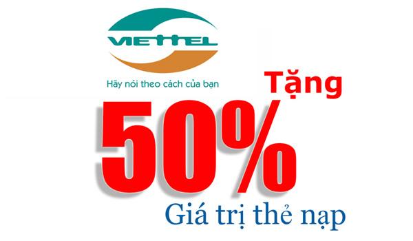 Viettel khuyến mãi 50% giá trị thẻ nạp từ ngày 14/10 – 31/10/2017