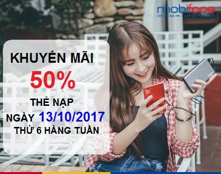 Thông tin khuyến mãi 50% Mobifone thứ 6 ngày 13/10