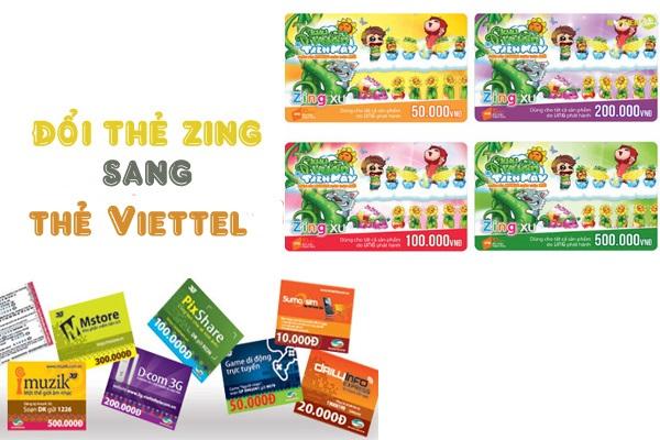 Hướng dẫn đổi thẻ Zing sang thẻ điện thoại Viettel