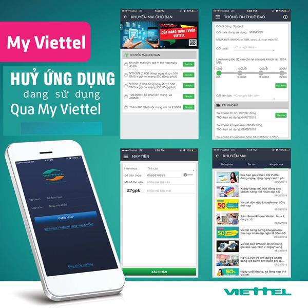 Hướng dẫn cách hủy dịch vụ, gói cước qua ứng dụng My Viettel