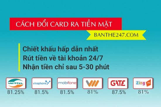 Hướng dẫn cách đổi card điện thoại ra tiền mặt tại banthe247.com