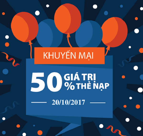 Viettel khuyến mãi 50% giá trị thẻ nạp trong ngày 20/10/2017