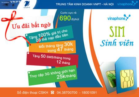 Lướt web tẹt ga với 25.000đ cho sim sinh viên vinaphone