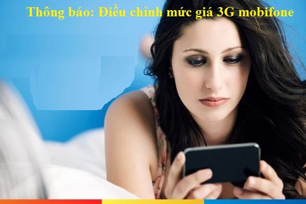 Thông báo mới nhất về điều chính mức giá 3G mobifone