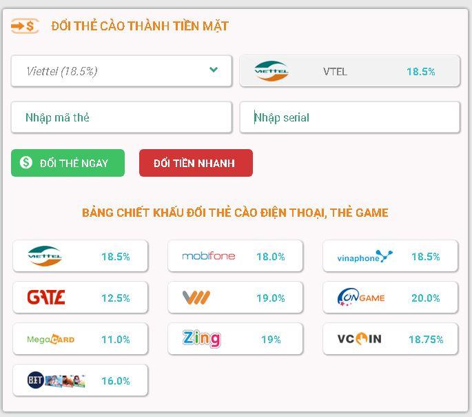 Hướng dẫn cách đổi card điện thoại Viettel sang tiền mặt