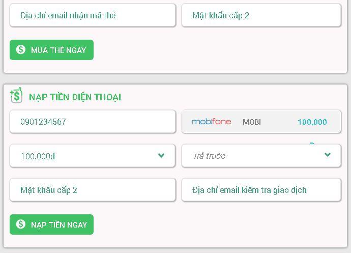 Hướng dẫn nạp tiền điện thoại Mobifone trên DOITHE66.COM