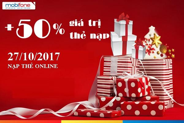 Tưng bừng khuyến mãi Mobifone 50% khi nạp tiền online ngày 27/10/2017
