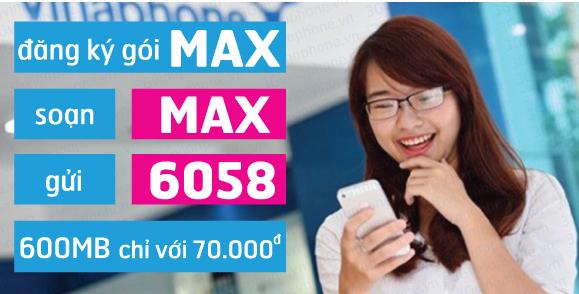 Đăng ký nhanh gói cước Max Vinaphone 70K