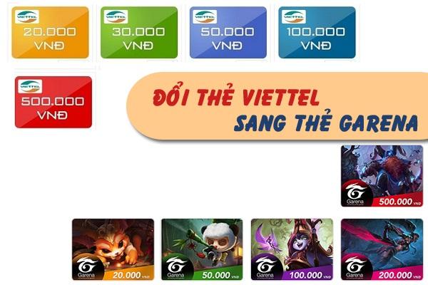 Đổi thẻ Viettel sang garena dễ dàng chỉ bằng 2 bước