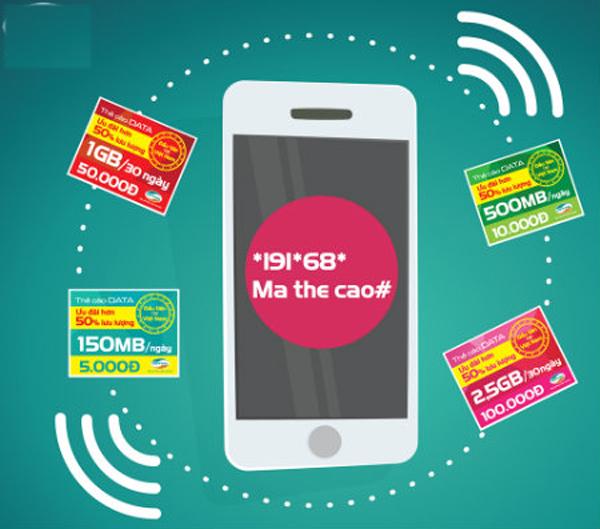 Check in mệnh giá kèm thời gian sử dụng của thẻ cào data Viettel