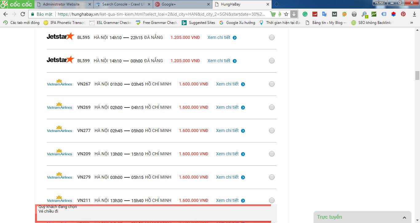 So sánh giá vé máy bay từ Hà Nội đi thành phố Hồ Chí Minh của VietNamAirlines và Jetstar