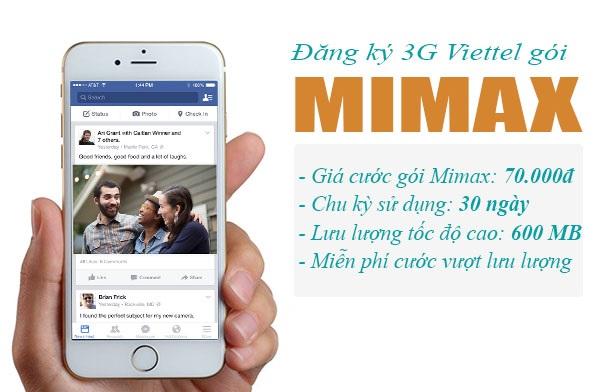 Đăng kí gói 3G Mimax Viettel mức phí đăng kí 70.000đ/1 tháng