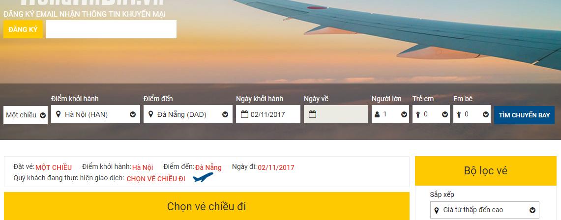 So sánh giá vé máy bay từ Hà Nội đi Đà Nẵng của VietNam Airlines và VietJet