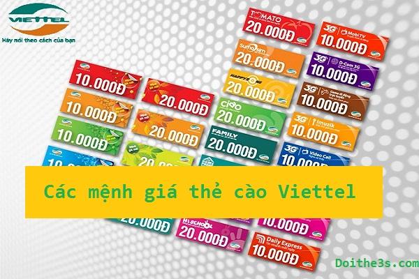 Các mệnh giá thẻ Viettel đang được phát hành trên thị trường