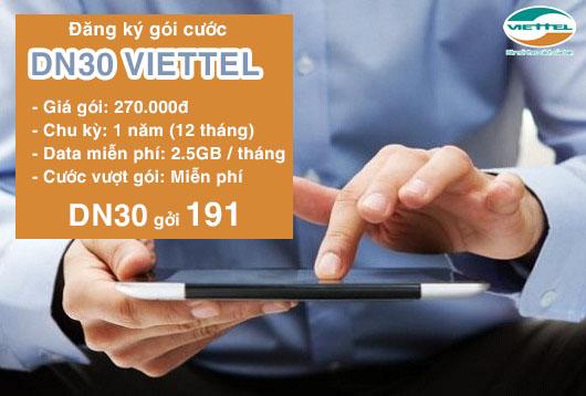 Đăng ký nhanh gói DN30 Viettel chỉ với 270.000 đồng