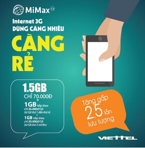 Đăng ký gói Mimax 1.5 Viettel nhận ngay ưu đãi khủng