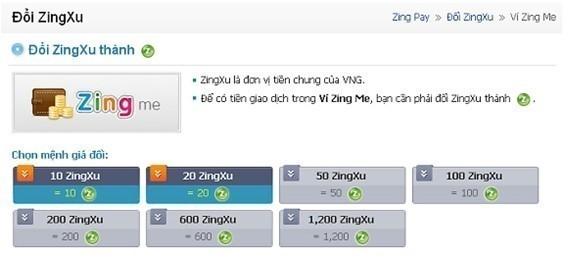 Hướng dẫn chi tiết cách chuyển tiền từ ví ZingMe sang Zing Xu