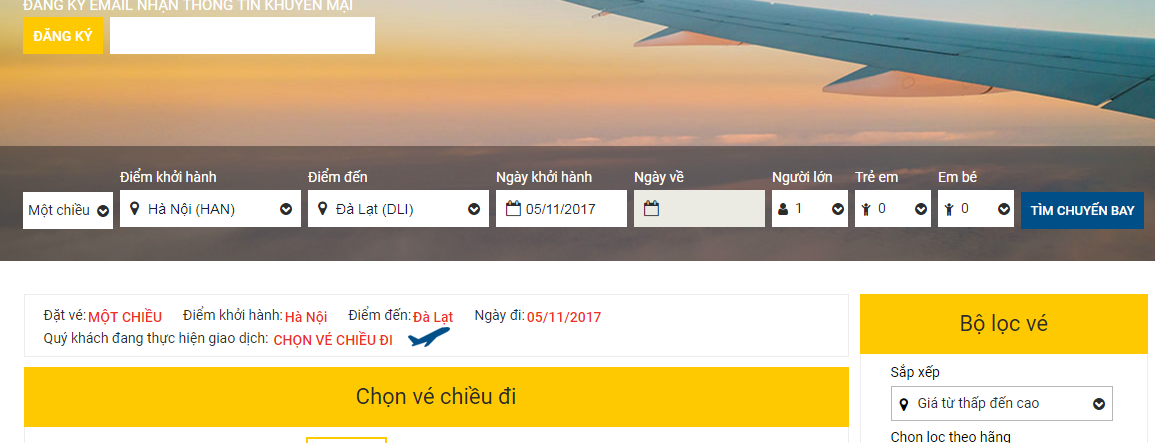 So sánh giá vé máy bay từ Hà Nội đi Đà Lạt của VietNam Airlines và Jetstar