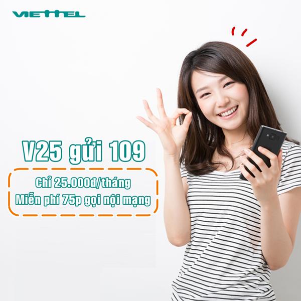 Đăng ký ngay gói V25 Viettel nhận ngay số phút gọi cực ưu đãi