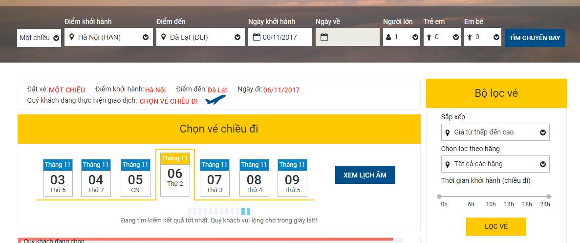 So sánh giá vé máy bay từ Hà Nội đi Đà Lạt của VietNam Airlines và VietJet