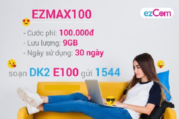Cùng sim ezCom đăng ký gói cước ezMax100 của Vinaphone