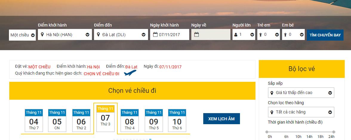 So sánh giá vé máy bay Hà Nội - Đà Lạt của VietJet và Jetstar