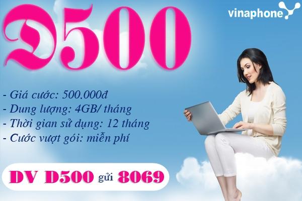 Cùng sim Ezcom 12 tháng đăng ký gói cước D500 Vinaphone
